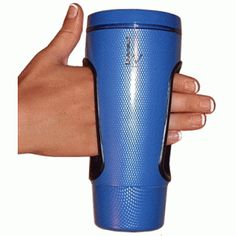 Easy Grip-In Mug - 16 oz  Awesome idea for anyone who struggles to hold onto a cup or glass; arthritis, parapalegia, etc.  Love that it doesn't look theraputic.