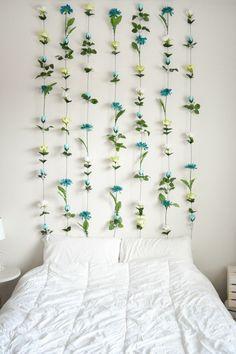 blumen selber basteln dekoideen schlafzimmer akzentwand schaffen