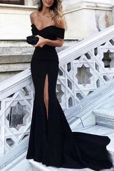 Sexy Off the Shoulder Black Mermaid Long Prom Dress Evening Dress with Train