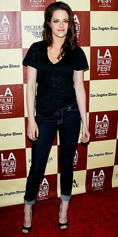 Kristen Stewart wearing Brian Atwood peep toes with a t-shirt and jeans.