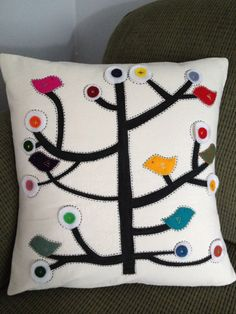 Hand painted Tree with birds pillow cover. $60.00, via Etsy.