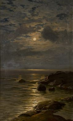 View Moonlight by Eugen Taube on artnet. Browse upcoming and past auction lots by Eugen Taube. Moonlight Painting, River Painting, Moon Art, Renaissance Art, Aesthetic Art, Landscape Paintings, Dark Paintings, Dark Art, Art Inspo