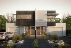 Inform Home Designs: Dual Occupancy. Townhouse Designs, Duplex House Design, H Design, Facade Design, Residential Architecture, Modern Architecture, Duplex House Plans, Minimalist House Design, Storey Homes