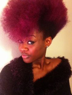 black women with burgundy hair color - Bing Images Purple Natural Hair, Dyed Natural Hair, Natural Hair Tips, Natural Hair Styles, Natural Beauty, Natural Afro Hairstyles, Ethnic Hairstyles, Funky Hairstyles, Afro Textured Hair