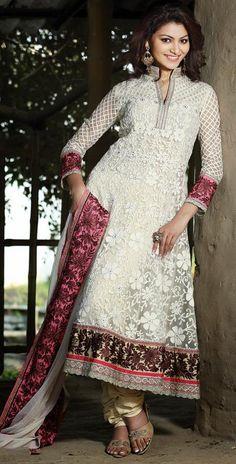 Indian Latest Fashionable Off white Chrochet Nett Churidar Kameez Anarkali Dresses, Anarkali Dress, Pakistani Dresses, Indian Dresses, Indian Outfits, Anarkali Suits, Women's Dresses, Fashion Dresses, Indian Clothes Online, Online Shopping Clothes