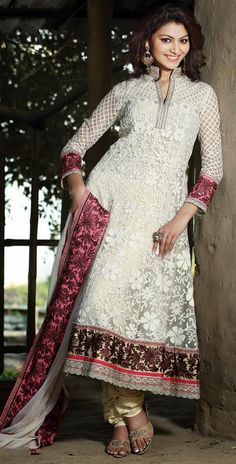 $110.84 White Net Embroidered with Stone Work Anarkali Salwar Kameez 26019