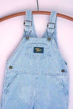 Vintage oshkosh baby bgosh overalls denim pinstriped 9 to 12 months by fuzzymama on Etsy