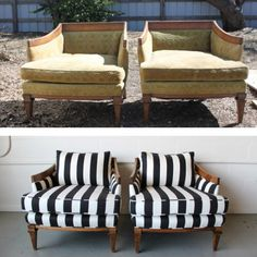 """Before"" and ""After"" chairs. Find your next craft project at Goodwill!"