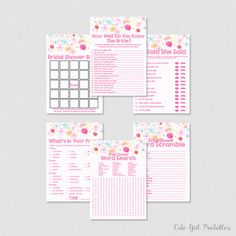 Floral Bridal Shower Games Package Six Games Included - Printable Bridal Shower Games Set - Game Set - Game Package - Fuchsia Pink 0005W