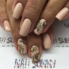 Beige nail art, Evening dress nails, Evening nails, Festive nails, Gold casting nails design, Monogram nails, New year nails ideas 2017, Party nails