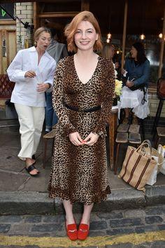 Gucci belt: Alice Levine wearing Gucci belt and leopard dress