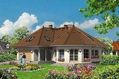 Projekt domu Mój Dom Oliwka - DOM BM3-91 - gotowy projekt domu 4 Bedroom House Plans, Dream House Plans, Modern Bungalow House Plans, House Elevation, Luxury Homes, Gazebo, Sweet Home, Outdoor Structures, House Design
