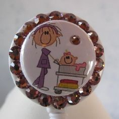 Mother Baby Nurse ID Badge Holder Swarovski Crystal Bling Reel with Pacifier | Sparkling-Hope - Accessories on ArtFire