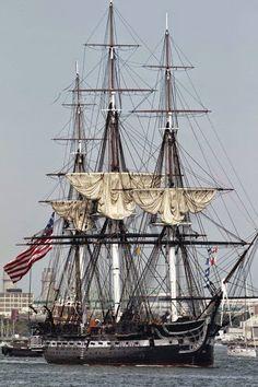 """1797 USS """" Constitution """"  Oldest Navel Vessel Afloat ."""