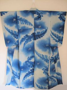 レア柄 カタツムリと雨に芭蕉の葉 絽アンティーク着物 かたつむり_画像1