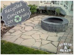 Simple photo instructions for creating your own recycled concrete patio. Take broken concrete pieces and turn them into decorative pavers for a unique patio.