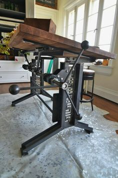 here we have a french industrial style drafting desk. It has a very solid iron b. here we have a french industrial style drafting desk. It has a very solid iron base that is very attractive. Vintage Industrial Furniture, Industrial Interiors, Industrial Style, French Industrial Decor, Industrial Design, Urban Industrial, Industrial Drafting Tables, Drafting Desk, Vintage Drafting Table