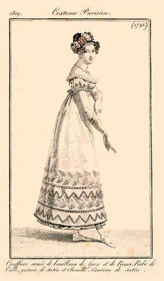 """""""Journal des Dames et des Modes - 31 Janvier 1819 / Gravure 1791.""""  So pretty!"""