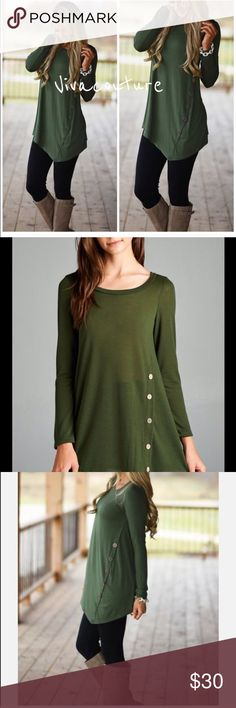 Best Olive Side Button Tunic Best selling hacci jersey Tunic with Side Button Detail nwot Vivacouture Tops