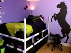 purple and black horse room
