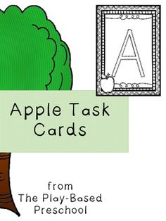 Apple Task CardsWho can play? Preschool Kindergarten HomeschoolLet's Play!28 Apple Task Cards including: Trace the Letter Match the letter Connect the apples  Connect the apple to the tree Circle the number  Match the group* * *Resources in this Product Line:Apple Hands On ActivitiesApple Task CardsHappy ApplesApple Sequence File Folder GameApple Bushel Match File Folder GameCounting Trees File Folder GameApple Orchard Math File Folder GameBundle and Save up to 30%Apple Bundle* * *Want to…