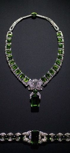 GABRIELLE'S AMAZING FANTASY CLOSET | Cartier: Extraordinary Emerald Necklace Pendant and matching Bracelet