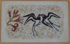 Swallows. Detail of the fresco of Spring from Santorini. mosaic from  Eftychia Finou