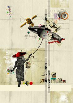 Astrogirl by Kacper Kiec, via Behance surrealist collage Collages, Collage Design, Collage Art, Surrealist Collage, Collage Ideas, Cv Inspiration, Collage Techniques, Poster Design, Collage Illustration