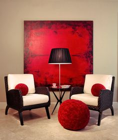 Living Room red white and black Design Ideas, Pictures, Remodel and Decor