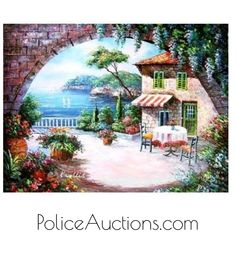 Greek Cafe - Hand Painted Oil on Canvas http://www.policeauctions.com/tracker.php?Refer=PinPa123430&Id=1324130&AID=