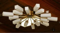 Large German 1950s modern design Sputnik style 18 arm chandelier / light fixture with frosted glass shades.