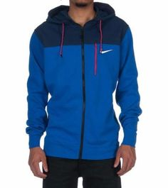 382751c2 NWT NIKE AV15 FLEECE FULL ZIP HOODIE Blue on Red 679408 480 SZ S
