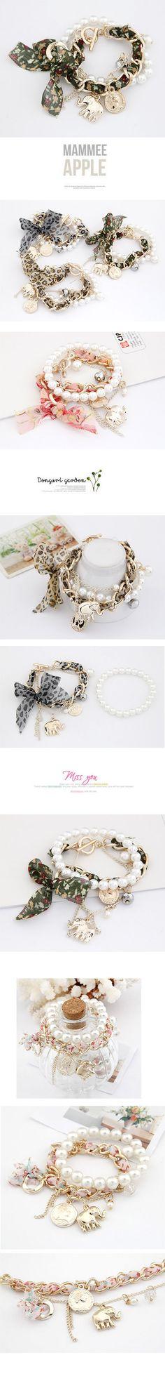 Urban Green Bow Elephant Design Lace Korean Fashion Bracelet http://www.asujewelry.com/