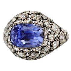 Edwardian Sapphire and Diamond Ring | 1stdibs.com