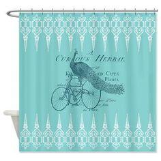 Artistic Shower Curtain - Vintage Peacock-  Steampunk, teal, blue , art, decor, bath, home