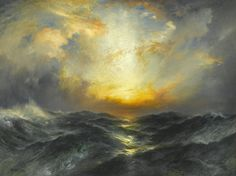 Thomas Moran Sunset in Mid-Ocean painting is available for sale; this Thomas Moran Sunset in Mid-Ocean art Painting is at a discount of off. Seascape Paintings, Landscape Paintings, Landscapes, Painting Trees, Painting Canvas, Edward Moran, Thomas Moran, Munier, Oil Painting Reproductions