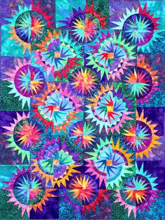 of July - by Jannilou Creations Circle Quilts, Star Quilts, Scrappy Quilts, Patchwork Quilt Patterns, Applique Quilts, Patchwork Ideas, Cleopatras Fan Quilt, Paper Piercing Patterns, Watercolor Quilt