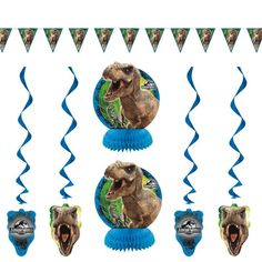 Table decorating kit for a successful Jurassic World birthday party buffet - Ideas for Jurassic World Birthday Parties - Holly Day