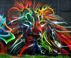 Graffiti Art colorful lion. Looks like fractal art
