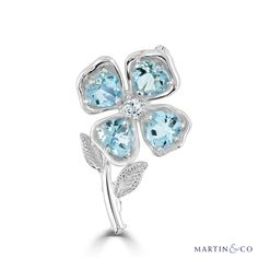 Diamond Flower, Gold Flowers, Flower Brooch, Blue Topaz, Brooches, Sparkle, White Gold, Turquoise, Jewellery