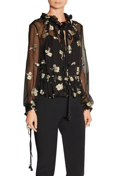 Shop on-sale Chloé Embroidered silk-chiffon blouse. Browse other discount designer Tops & more on The Most Fashionable Fashion Outlet, THE OUTNET.COM