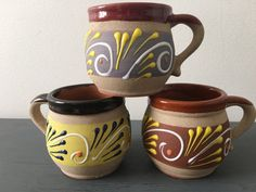 MEXICAN FOLK ART Mugs set of 3 Mexican clay by AnnmarieFamilyTree