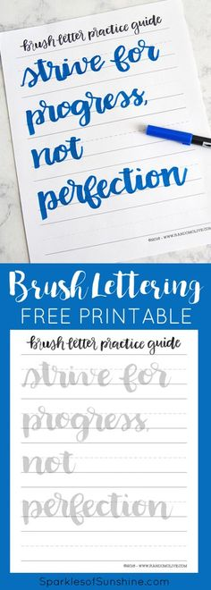 Learn brush lettering the easy way with a free printable practice guide sheet at Sparkles of Sunshine. via @christieselken