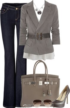 Gray business casual outfit by Sacagawea love this outfit..minus the heels, they are great but too high for me