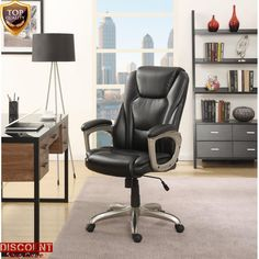 Black Leather Office Desk Chair Commercial Furniture Computer Seat Adjustable #Serta