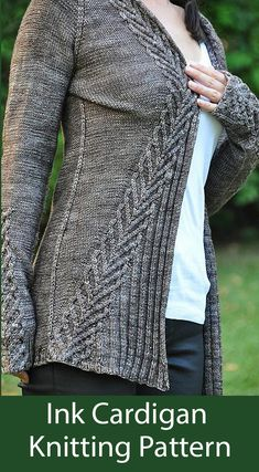 """""""Ink"""" is the perfect cardigan to slip on when the balmy days of summer transition to the chilly days of autumn. Named for the color of the yarn, it is also a reminder that autumn brings with it the beginning of a new school year. Knitted in fingering yarn Love Knitting, Sweater Knitting Patterns, Knit Patterns, Hand Knitting, Knit Cardigan Pattern, Knitting Sweaters, Knitting Yarn, Summer Knitting, Jacket Pattern"""