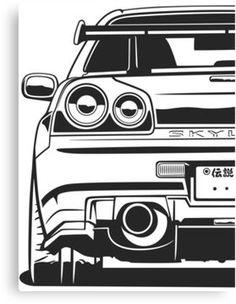 Skyline GTR Canvas Print by OlegMarkaryan Nissan Gtr R34, Skyline Gtr R34, Gtr Drawing, Volkswagen Routan, Cool Car Drawings, Jdm Wallpaper, Car Illustration, Japan Cars, Art Cars