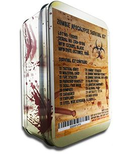 The Zombie Apocalypse Survival Kit includes 24 items inside that will ensure your survival during the Zombie Apocalypse. The kit includes the following: 1x Tin Box 2x Assorted Zombie Warning Stickers...