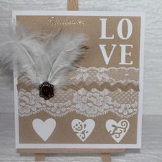 "Carte double "" fair-part mariage "" plumes, perles, dentelle, bijou . fait main.."