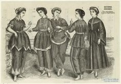 Bathing dresses.  1868  From Godey's lady's book.    Cute!  Note the bare feet.